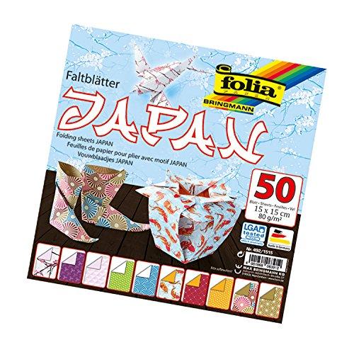 folia 492/1515 - Faltblätter Japan, 15 x 15 cm, 80 g/qm, 50 Blatt sortiert in 10 Motiven - ideal für wunderschöne Faltfiguren und -formen