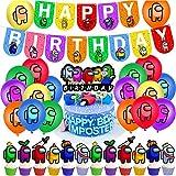 Tra Noi Decorazioni per Feste,38 pcs Among Us Decorazione per Feste di Compleanno,Forniture per Feste Include Banner di Buon Compleanno,Palloncini,Cake Topper