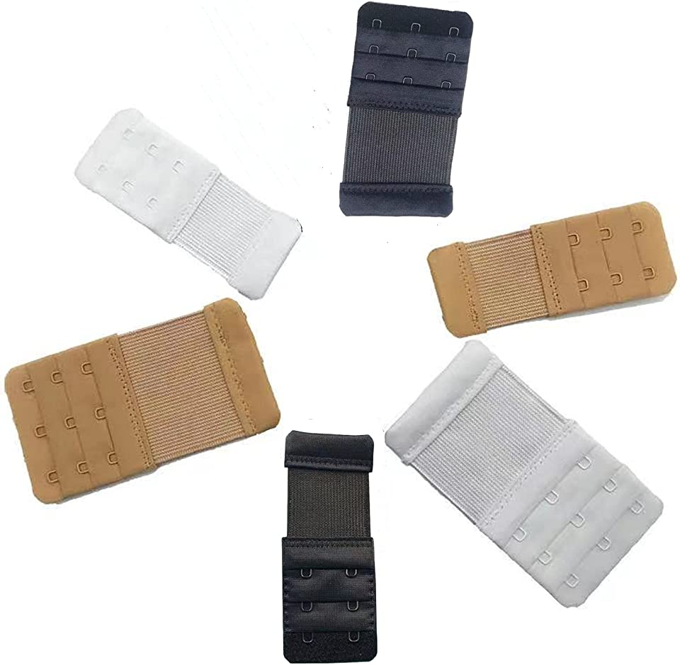2021NEWEST 6 Piece SHZDMH Bra Strap Extensions Elastic Extender Set 3 Rows x 3 Hooks, 3 Rows x 2 Hooks, Black/skin/White