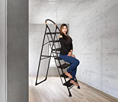 Parasnath Black Diamond Ladder with Wide Steps 7 Steps 7.3 ft Folding Ladder Made in India