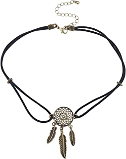 Lux Accessories Black Suede Burnished Gold Tone Dream Catcher Feather Choker