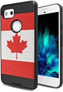 Capsule Case Compatible with Google Pixel 2 XL (2017) [Hybrid Fusion Dual Layer Slick Armor Case Black] for Pixel 2XL- (Canada Flag)