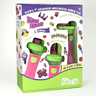 QUILL ON- Super Quiller and Buddies,Pink- Motorized Multi-Function Quilling Tool- Craft Kit for Experts-for Boys and Girls Above 8 Years to Coil, Crimp Or Make Beads from Paper- Fun Creative kit