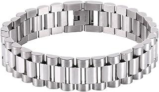 U7 Men Cool Bracelet with Chain Detaching Device Stainless Steel 15MM Wide Link Wristband Bracelets