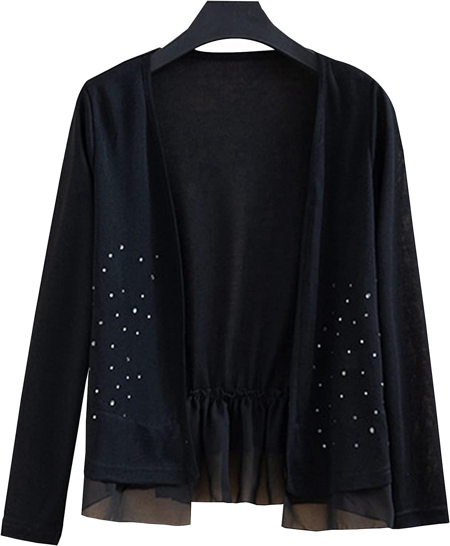 Ainangua Women's Open Front Cardigan Pleated Hem Long Sleeve Short Loose Outwear Shawl Sweater
