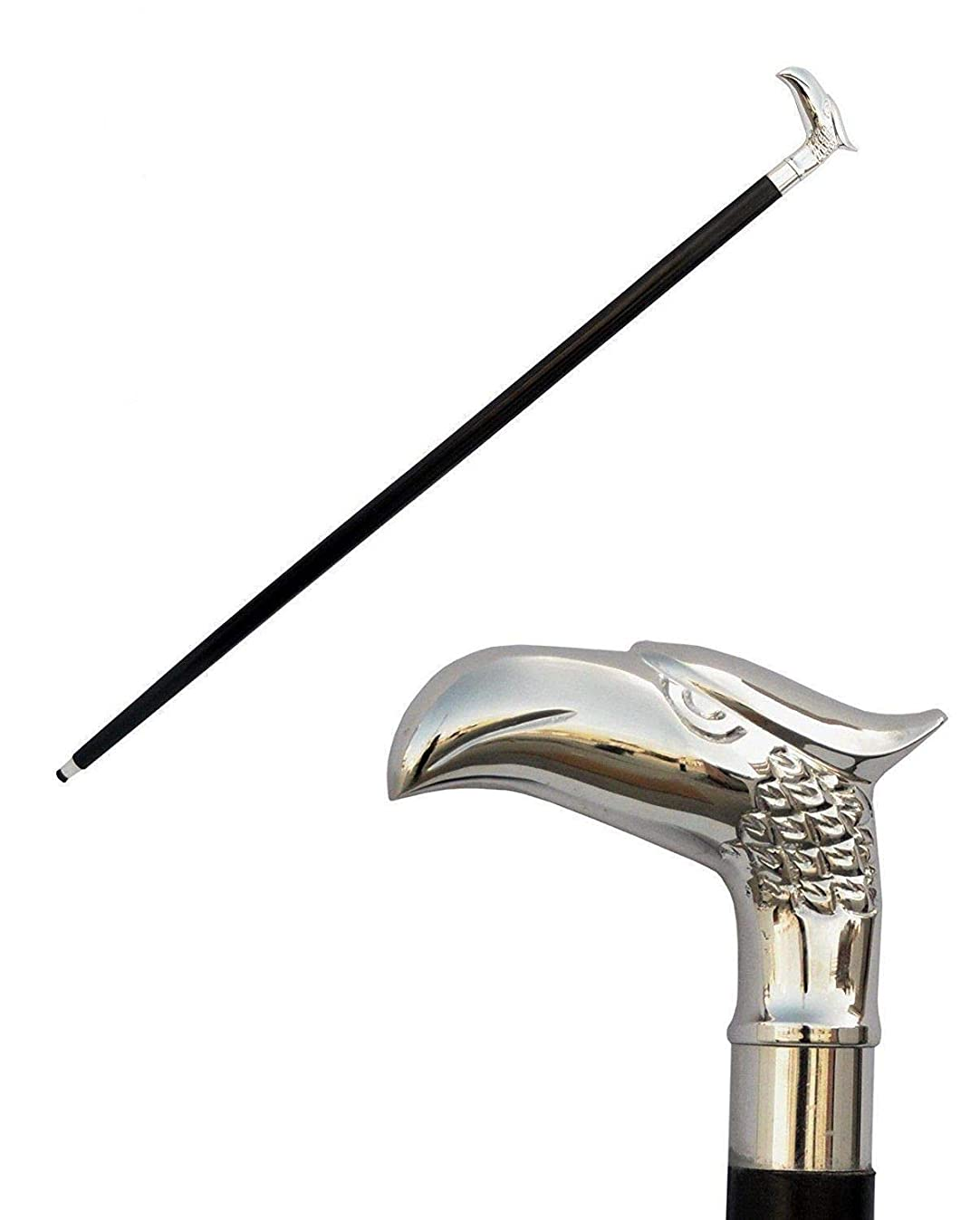 """Sale on - Wooden 37"""" Decorative Walking Cane / Walking Stick Premium Quality Rare Eagle Head Decorative Prop with Nickel Plated Brass Handle (Symbol of Power and Strength) - Unique Gifts"""
