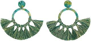 Women's Pendant Earing Vintage Acrylic Acetate Sheet Fringe Handmade Rope Bohemian Tassel Earrings Ladies Jewelry Gift Evangelia.YM (Green)