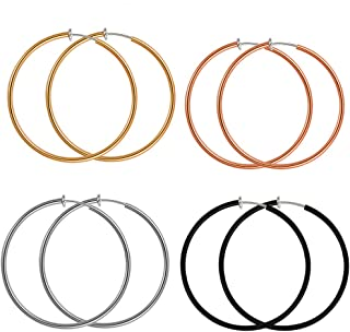 ilasif 4 Pairs Clip on Hoop Earrings for Women Non Pierced Clip on Hoop Earrings Set for Girls Valentine's Day Gifts(50mm)