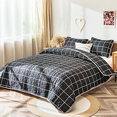 Schwarzes Gitter-Bettwäsche-Set, schwarz-weiß, kariert, Tagesdecke, Mini-Gittermuster, geometrisches Karo, Bettbezug-Set, Doppelbett, 1 Steppdecke, 1 Kissenbezug (schwarz, Doppelbett)