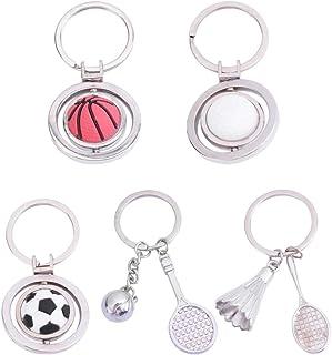 Tomaibaby 5PCS Creative Rotating Sports Ball Keychain Football Golf Tennis Basketball Badminton Metal Pendant Hanging Orna...