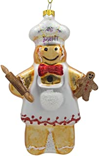 BestPysanky Gingerbread Man Baker Glass Christmas Ornament 5.5 Inches
