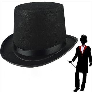 f8e4ba1727a38 Amosfun Chapeau de Magicien Noir Chapeau de Magicien Dress Up Accessoire de  Costume pour Les Hommes
