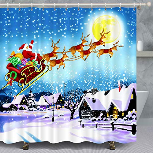 VANCAR Xmas Merry Christmas Shower Curtain Santa Claus Reindeer Sled Gifts Christmas Party Decoration Shower Curtain for Bathroom Decoration Home Decor 72'X72'