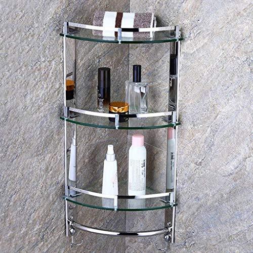 Badkamer Hoek Badkuip Plank RVS Wandmontage Douchebak Frame 7mm Gehard Glas 6.13 (Maat: 1 Dier) 3tiers