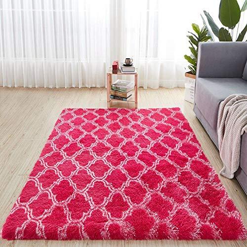 Alfombra Mullida Antideslizante Teñida Mixta Sala De Estar / Dormitorio Alfombra Central Negro Gris Rosa Azul Alfombras De Pelo De Gran Tamaño-Zr3-10_100X200Cm_39X78Inch