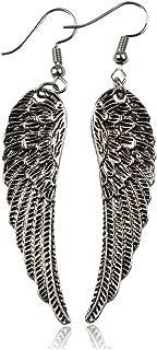 AY Retro Lucky Angel Wings Earrings for Women Ear Charm Feather Stud Earrings Tassel Earrings