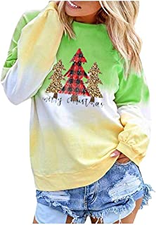 Eoeth Women's Contrast Color Christmas Printed Long Sleeve Top Pullover Sweatshirt Loose Casual Xmas Blouse Shirt Pullover