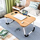 Laptop Desk, Foldable Laptop Bed Tray, Small Dormitory Table, Breakfast Serving Bed Tray, Laptop Bed Tray, Dorm Desk, Notebook Table with Tablet Slots and Cup Holder, Perfect for Watching Movie on Bed