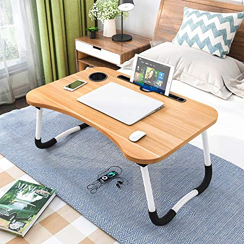 Laptop Desk Foldable Laptop Bed Tray, Small Dormitory Table, Breakfast Serving Bed Tray, Laptop Bed Tray, Dorm Desk, Notebook Table with Tablet Slots and Cup Holder, Perfect for Watching Movie on Bed
