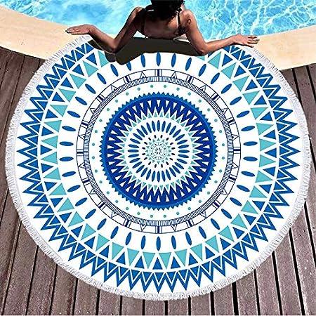 ラウンドビーチタオル 夏 大判ビーチマット ビーチレジャーシート 厚手 バスタオル 海水浴 肩掛け 超吸水 ボヘミアン プールパーティー ビキニ 水着の上に着る 海辺旅行