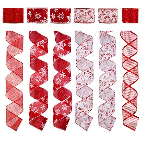 Alonsoo Wired Christmas Ribbon, Assorted Snowflake pattern and mesh Christmas Design Decorations Crafts Gift Wrapping Ribbons 36 Yards (6 Roll x 6 yd) by 2.5 inch,White/Red