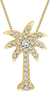 Diamond Palm Tree Pendant Necklace in 10K Gold (1/6 cttw, Color GH, Clarity I2-I3)