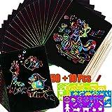 BESLIME Kratzbilder Set für Kinder,Kratzpapier Set,59 Pcs Blätter Regenbogen Kratzpapier zum Zeichnen und Basteln mit Schablonen, Holzstiften und Stickern -