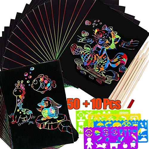 BESLIME Scratch Art, 50 Hojas Dibujo Láminas para Rascar Creativas Papel para Dibujar con Niños, Escribir Listas, Incluye 4 Plantillas de Plantillas de Dibujo y 5 lápices de Madera