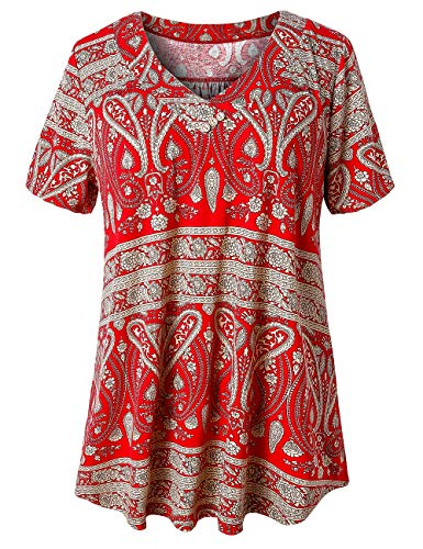 U.Vomade Women's Casual Summer Shirts Blouse Plus Size Short Sleeve Loose Fit T-Shirt Tunic Tops Multi Red 3X