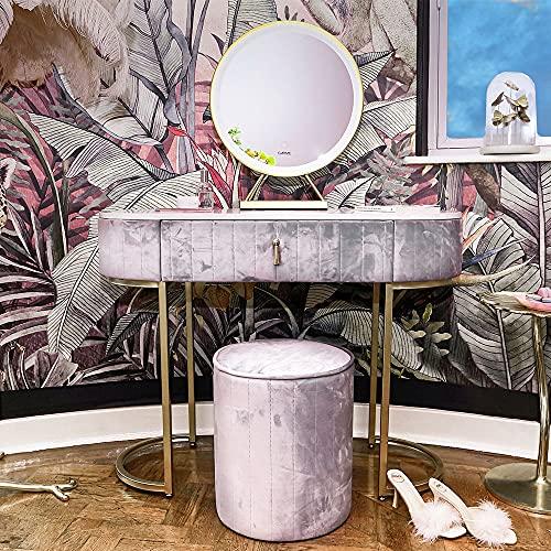 Carme Miami Deco - Tavolo da toeletta in velluto con sensore touch a LED, colore: tortora