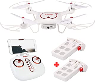 Kiditos Syma X5UW-D Radio Controlled 90 Degree Rotatable Wi-Fi FPV Camera Drone, Altitude Hold Mode, One Key Take-Off/Landing, App Control RC Quadcopter with 2 Battery (White)