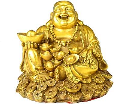 Feng Shui Decor Laughing Buddha Statue Maitreya Figurine Carrying Money Bag Happy Buddha for God Luck Brass Sculptures Home D