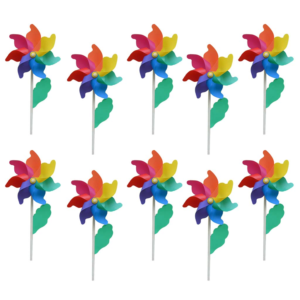 10 Unids Plástico Molinillos de Viento para Exterior para Adolescentes Juguete Adornos de Jardín Fiesta Césped: Amazon.es: Juguetes y juegos