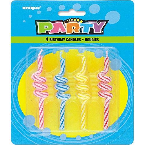 Unique Party rayé bouclés Bougies d'anniversaire, Assortis Lot de 4
