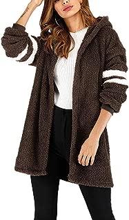 Autumn Winter Women's Striped Plush Warm Open Front Long Trench Coat Cardigan Outerwear Jacket