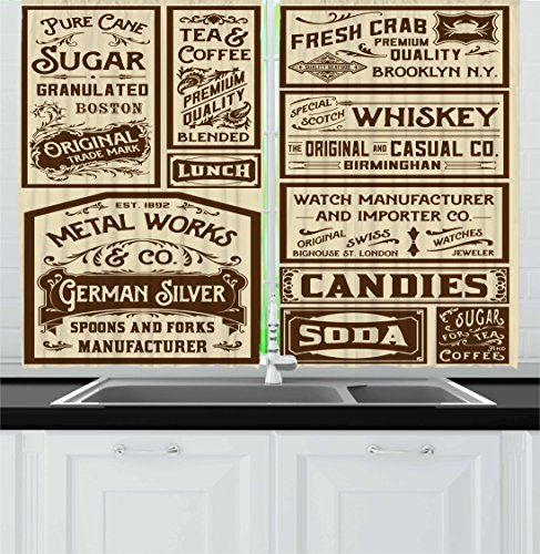 Ambesonne Vintage Kitchen Curtains, Mega Pack Old Advertisement Designs Retro Style Calligraphy Illustration, Window Drapes 2 Panel Set for Kitchen Cafe Decor, 55' X 39', Brown Cream