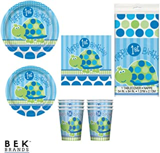 Bek Brands 1st Bday Turtle Boy's First Birthday Party Tableware Plates, Napkins, Cups, and Tablecover - 41 pcs!