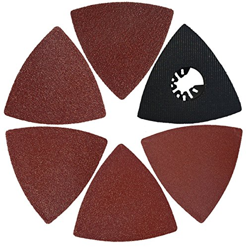 XXGO 51 Pcs Triangular 3-1/8 Inch Hook and Loop 60 80 100 120 240 Grits Oscillating Multi Tool Sandpaper and Triangle Multitool Sanding Pads Kits XG5106