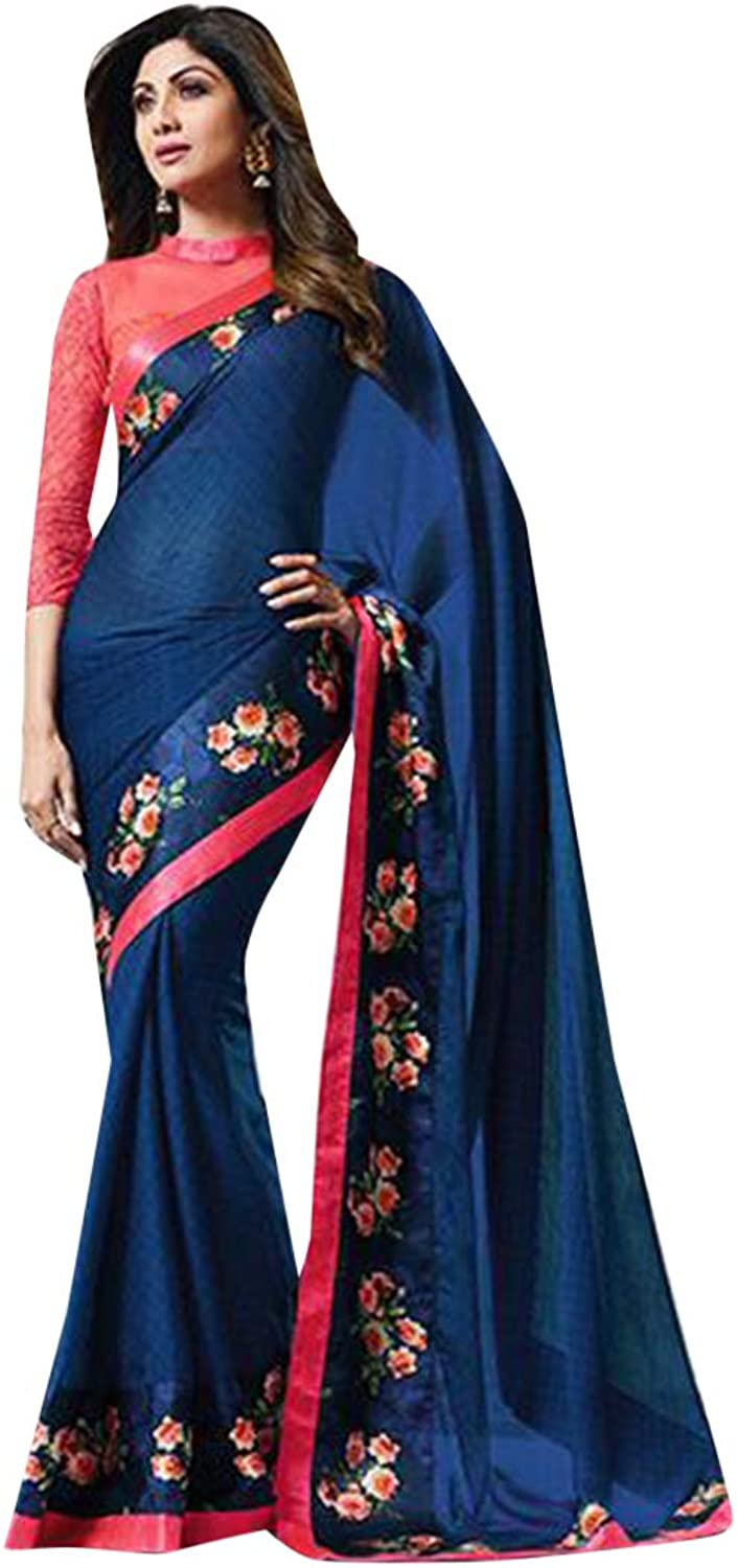 bluee Light Weight Saree Designer Blouse Party Wear Sari 7482