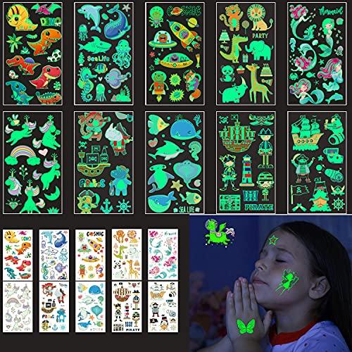 RoserRose Tattoos Infantiles, Tatuajes Temporales para Niños, 35 Hojas más de 400 Pcs Tatuajes luminosos de dibujos Animados de estilo mixto, Tatuajes Regalos De CumpleañOs Suministros Fiestas