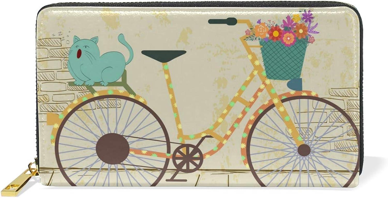 Women's Elegant Bicycle Peony Flower Leather Wallet Cute Girl Zipper Clutch Purse