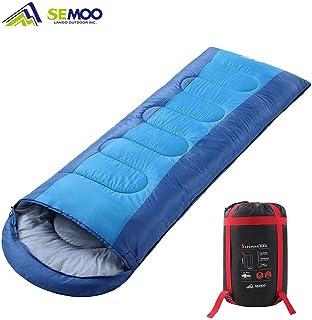 Semoo Saco de Dormir Impermeable, de 10-22ºC, 190T, Encapuchado para Adultos, con Bolsa de Compresión