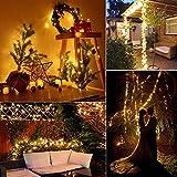 Solar Lichterkette Aussen, ECOWHO Warmweiß 22M 200 LEDs Kupferdraht lichterkette, 8 Modi IP65 Wasserdicht Solarlichterkette, Außen Lichterketten für Garten Weihnachten Deko - 7