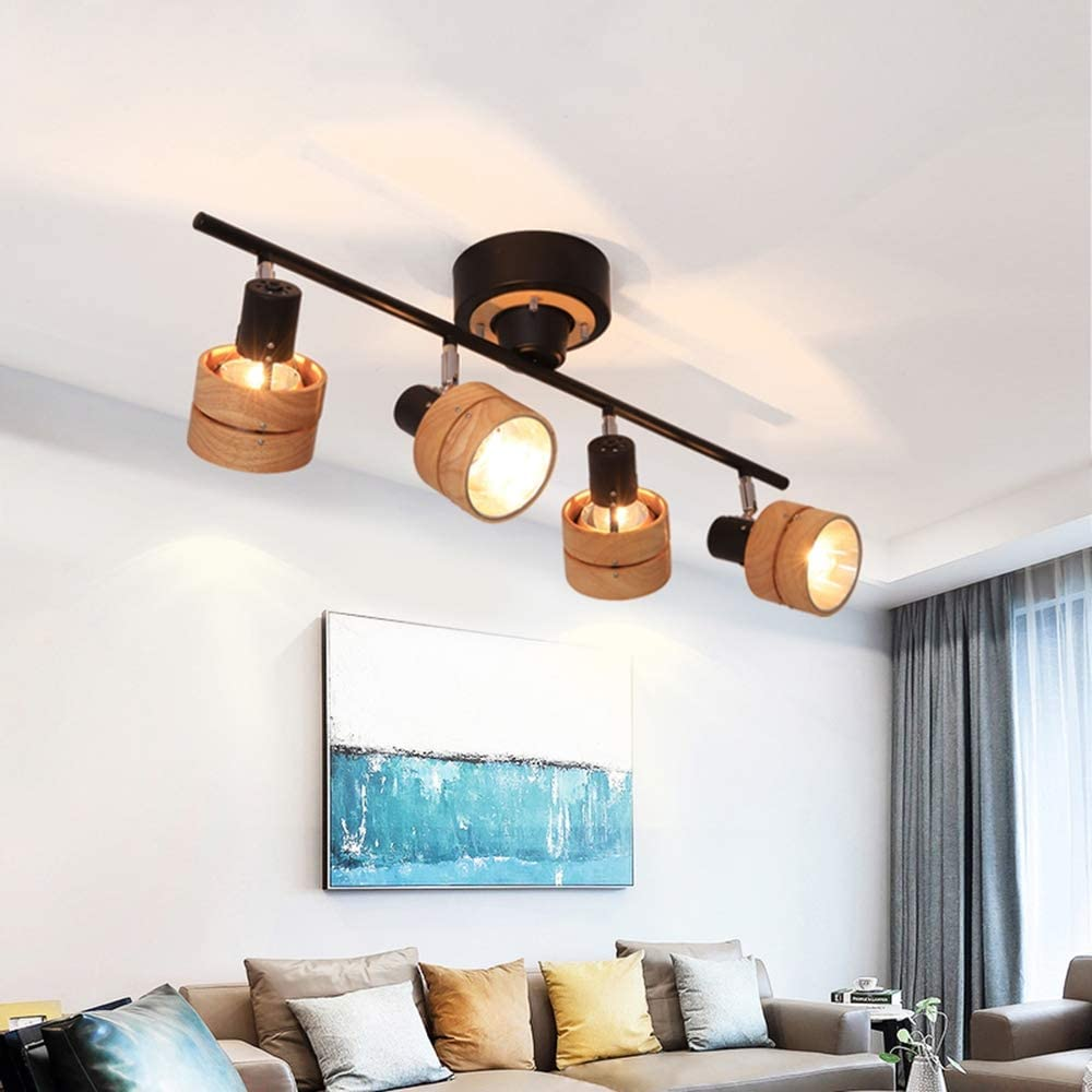 Vintage Wood Ceiling Spotlight Black Swivel Ceiling Light with 9 ...