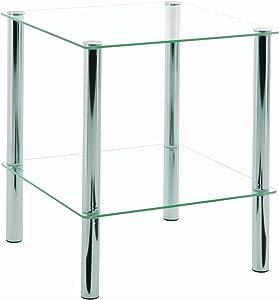 Haku Möbel 90238 Table Basse d'Appoint Tube d'Acier/Verre Trempé Chromé 39 x 39 x 47 cm