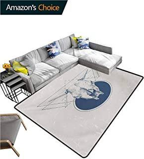 Modern Checkered Anti-Static Area Rugs, Skull Animal Bull Horns in a Vintage Poster Like Design Work of Art Fashionable High Class Living Bedroom Rugs, (2'x 6') Red Blue Grey and Silver