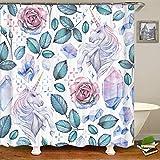 Duschvorhang Einhorn Blumen Blüte Diamant Mauve Blume Magischer Edelstein Pegasus Prinzessin Lila Badezimmer Dekor Zubehör Badvorhang mit Haken