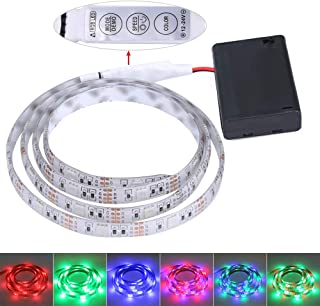 FISHBERG Waterproof 3528 SMD 120 LEDs Strip Lights Battery Operated 2M 6.6Ft Led Flexible Light Strip Crafts Lighting (Multicolor)