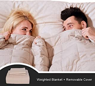 """CJXM King Size Weighted Blanket & Cover (25 lbs,82""""x87"""",16 Loops,400 Thread Count) 3.0 Luxury Cotton Heavy Blanket Weighted for Couples,Adults, Queen/King Size Bed"""