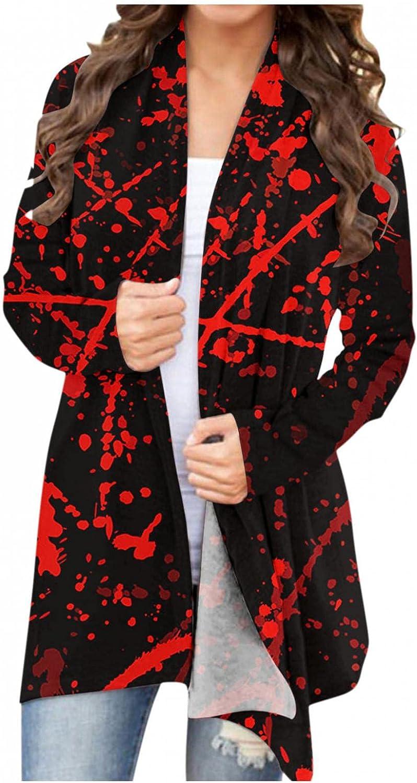 MASZONE Womens Halloween Pumpkin Cat Bat Long Sleeve Open Front Cardigan Sweatshirt Cute Funny Coat